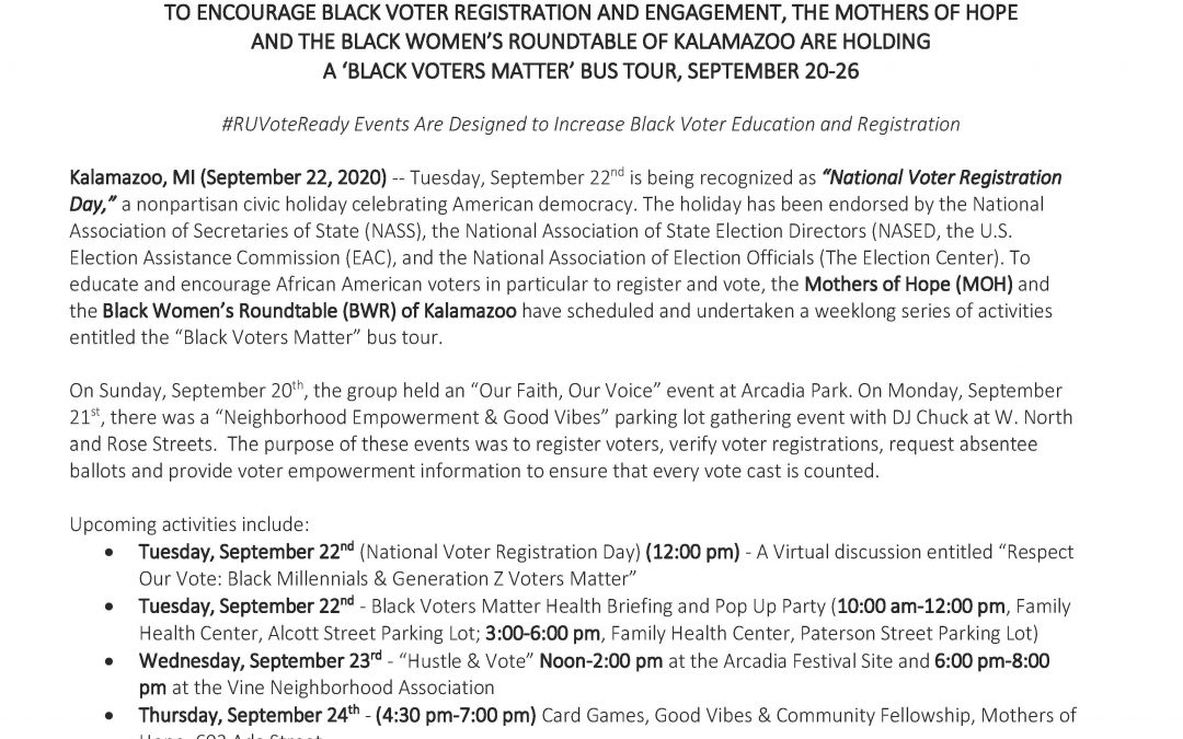 Press Release BLACK VOTERS MATTER bus tour